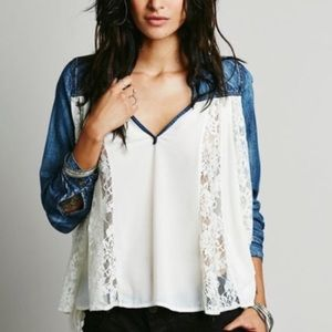 Free People Flowy Lace Shirt (WORN ONCE)